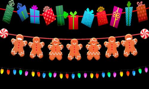 christmas garland  christmas lights  gingerbread