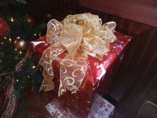 christmas gift gift package ribbon