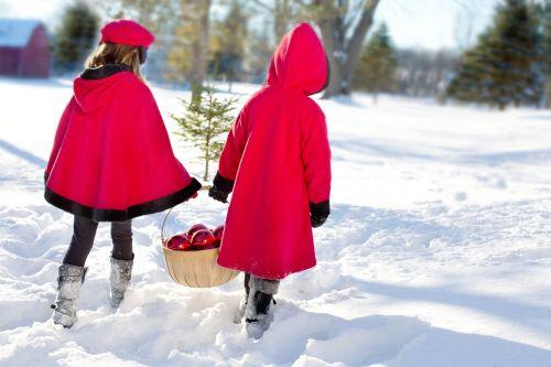 christmas girls girls snowy