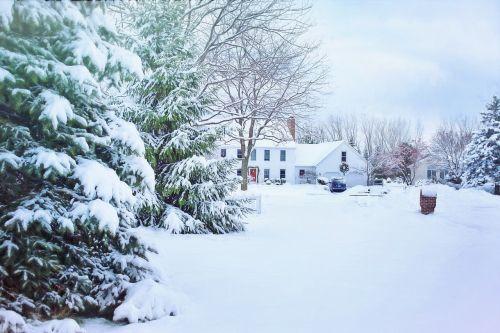 christmas house snowy neighborhood snow