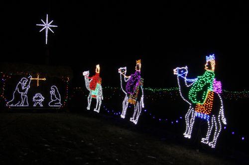 Christmas Lights Jesus Three Kings