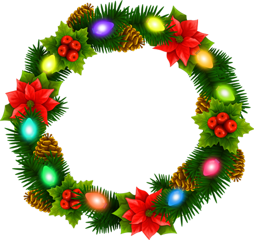 christmas lights wreath  christmas garland  wreath