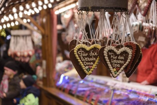 christmas market  gingerbread heart  sales stand