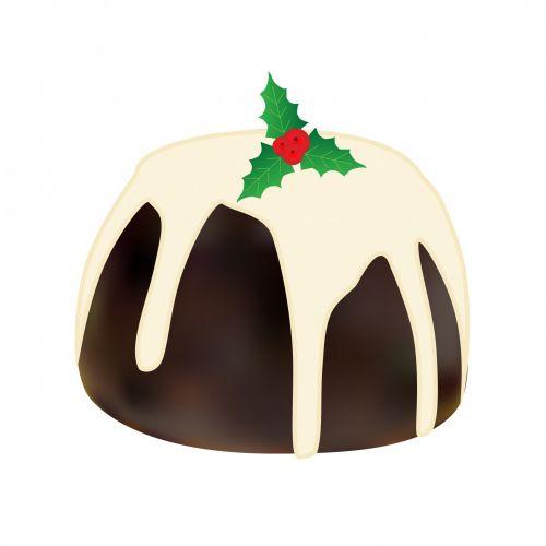 Christmas Pudding White Background