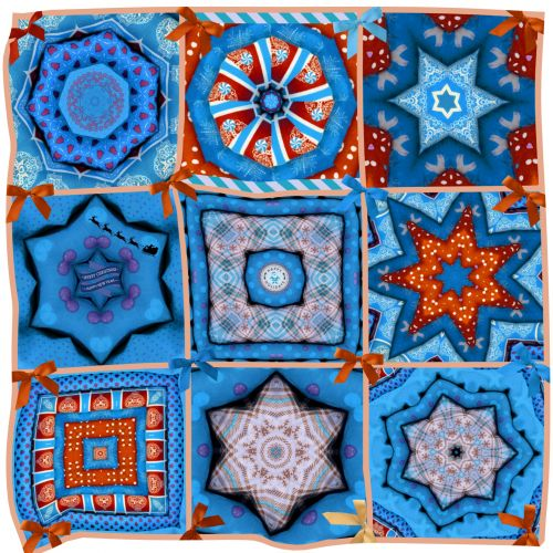 Christmas Quilt Collage - Blue