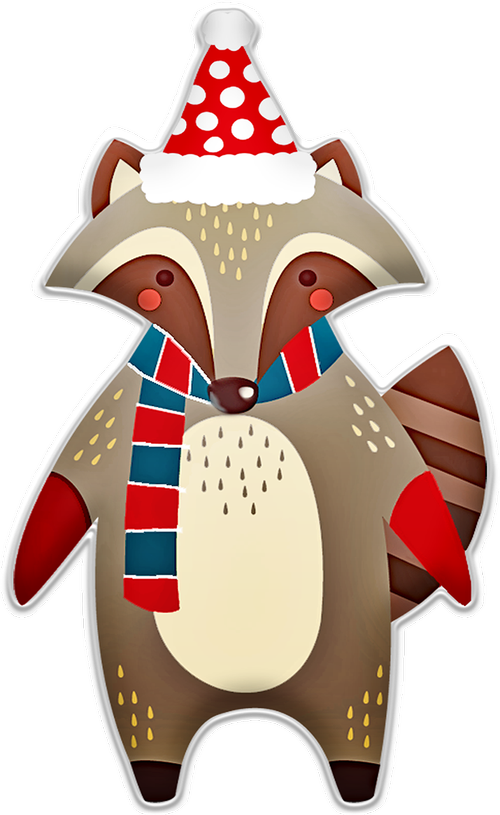 christmas raccoon  hat  scarf