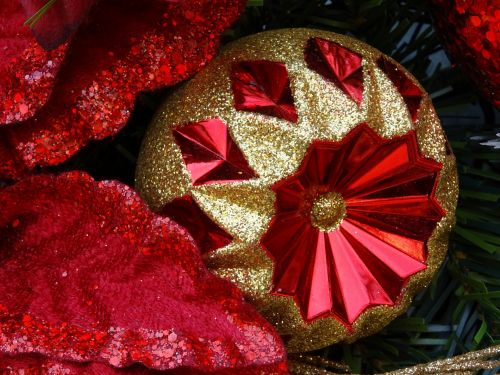 Christmas Red And Gold Bauble