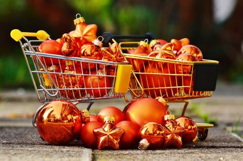 christmas shopping trolleys christbaumkugeln