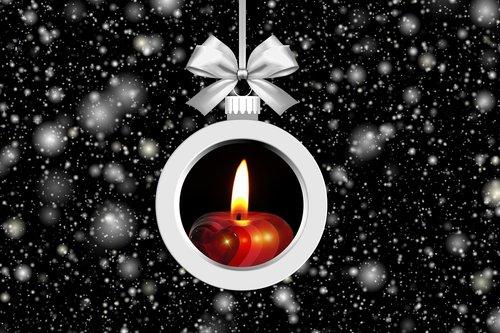 christmas tree ball  candle  snow