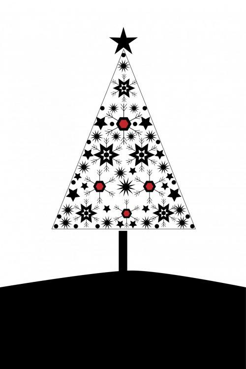 Kalėdos, xmas, medis, Kalėdos & nbsp, medis, kortelė, šablonas, šiuolaikiška, juoda, balta, dizainas, menas, iliustracija, žvaigždė, žvaigždės, snaigės, snaigė, modelis, Kalėdų eglutė šiuolaikiška