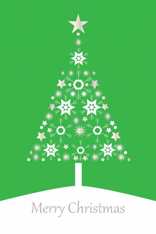 Kalėdos, xmas, medis, Kalėdos & nbsp, medis, šiuolaikiška, kortelė, šablonas, žalias, sidabras, snaigė, snaigės, žvaigždė, žvaigždės, fonas, dizainas, menas, modelis, iliustracija, Kalėdų eglutė šiuolaikiška