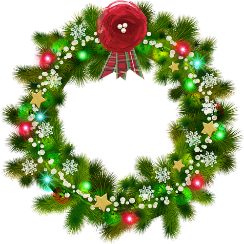 christmas wreath  red flower  christmas snow