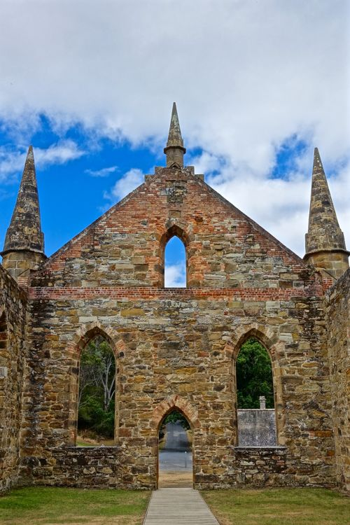 church ruins spires