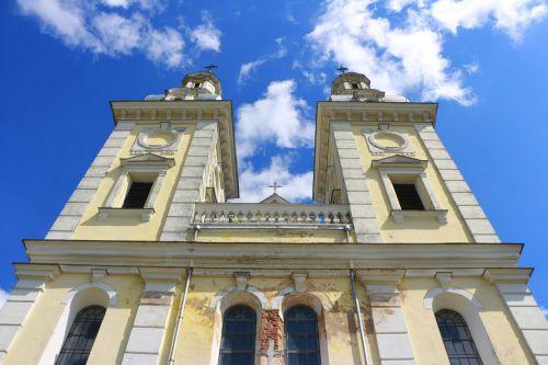 church low angle blue sky