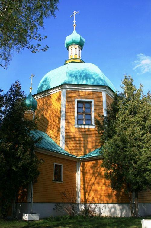 church wooden yellow walls