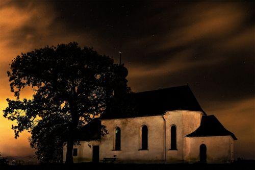 church tree sunrise mystical