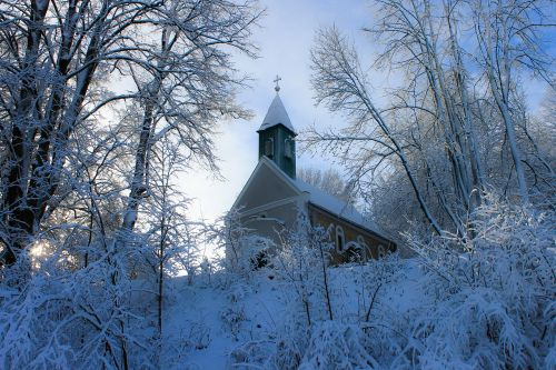 church winter snowy landscape
