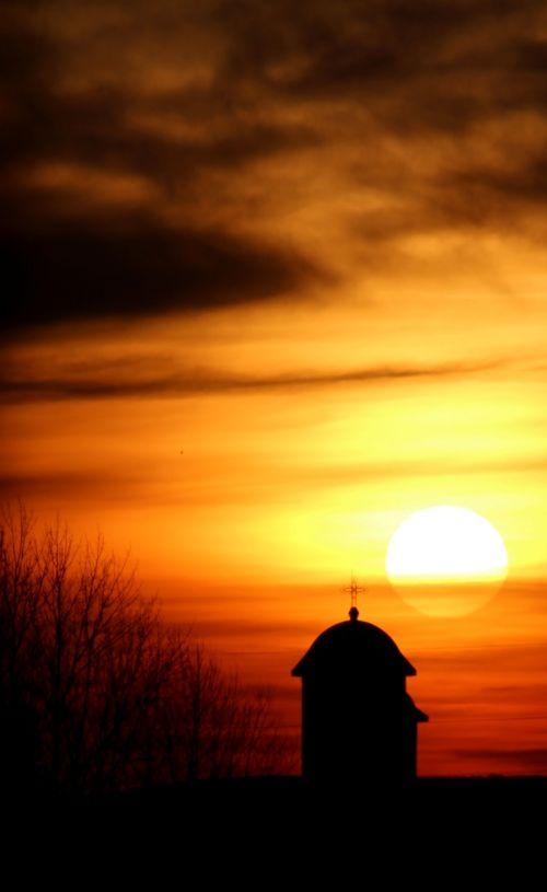 church sunrise cloud