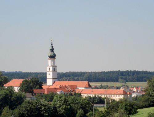 bažnyčia,neumarkt ve ve,vienuolynas,vienuolyno bažnyčia,bavarija,viršutinė Bavarija,vasara,dangus,saulė,bokštas,pastatas