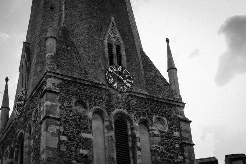 church ominous black and white