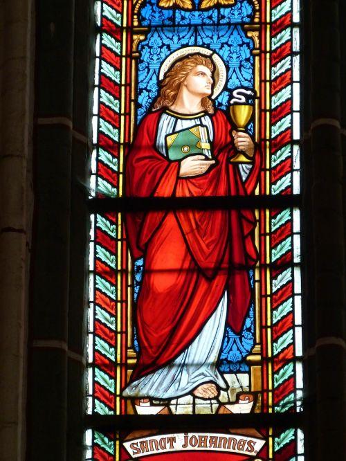 bažnyčia,langas,bažnyčios langas,vitražas,spalva,stiklas,senas langas,stiklo langas,vitražas,tikėjimas,apaštalas,Jonas,evangelistas,Biblija,taurė,krikščionybė