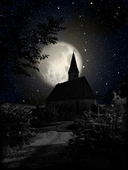 church moon night