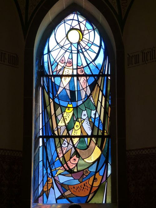 church,window,stained glass,church window,faith,stained glass window,fish,network,catch,peter,bible,christianity,color,free photos,free images,royalty free