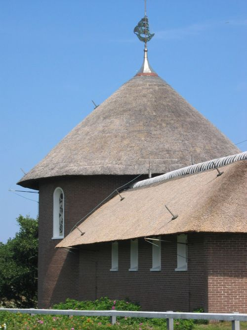 church thatched roof north sea