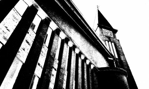 Church Building In Charcoal