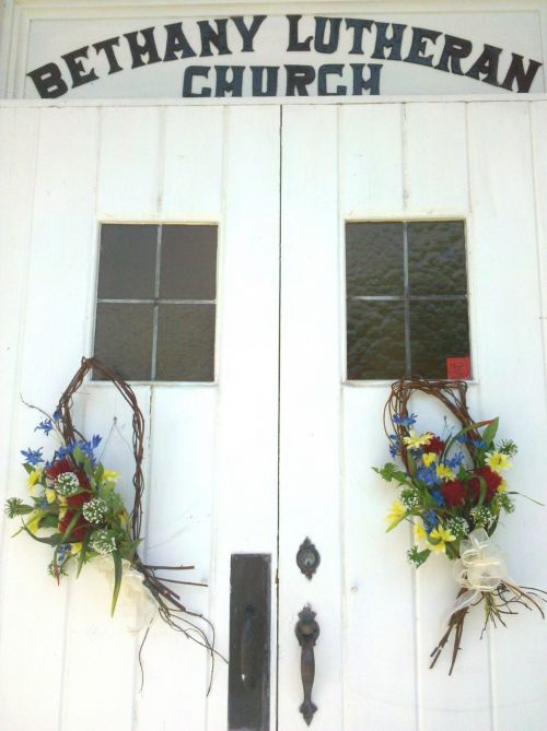 Church Doors With Flowers
