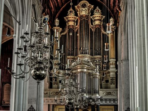 church organ organ pipes chandelier