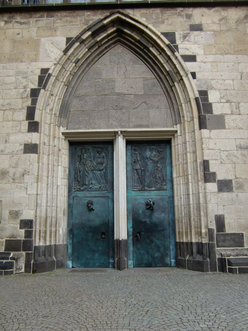 church portal archway bronze doors