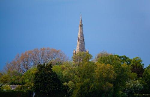 church spire  rain  summer
