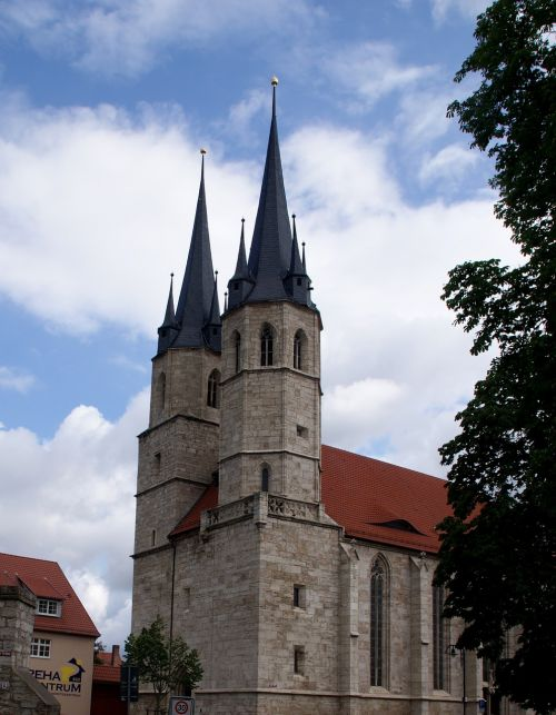 church steeples mulhouse thuringia germany
