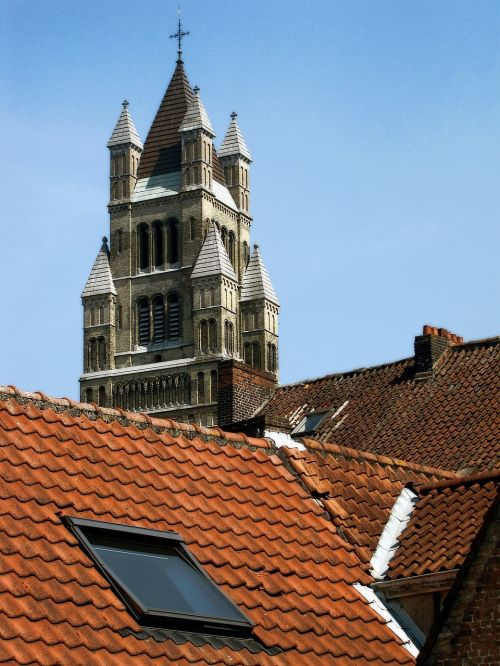 church tower tiled roof roof