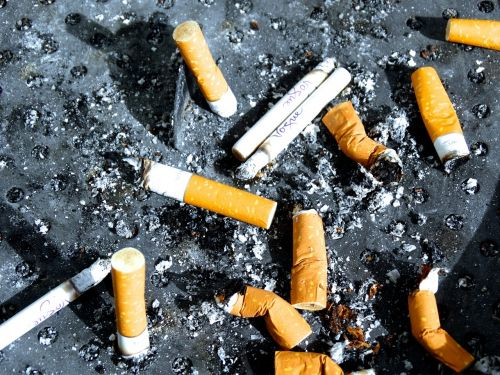 cigarette end smoking ash