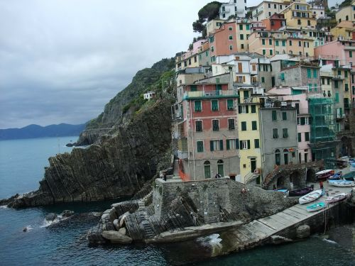 cinque terre village on the rocky coast houses on hillside