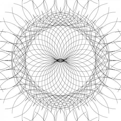 apskritimai, kreivė, linijos, siluetas, juoda, balta, fonas, geometrija, apskritimo tinklelis