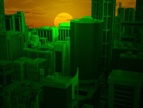 city urban sunset
