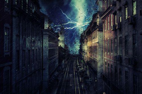 city rain storm