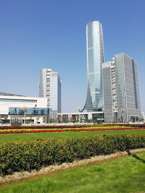 city tall buildings building