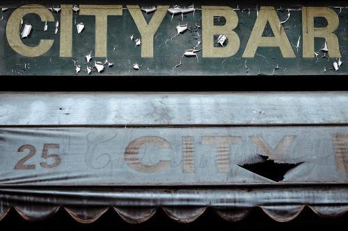city bar signage