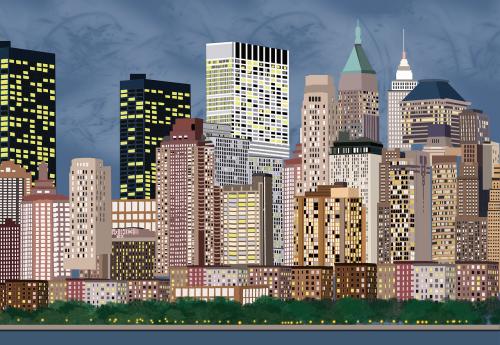 miestas,iliustracija,Niujorkas,kraštovaizdis,vieta,dangoraižis,kelias