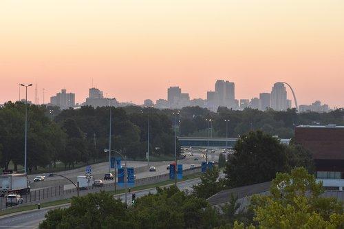 city  dawn  sunrise