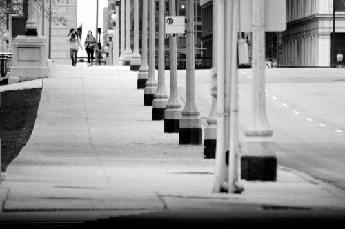 city corner landscape black and white