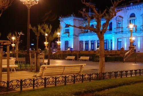 city hall of san sebastián architecture night landscape