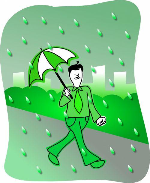 Iliustracijos, clip & nbsp, menas, iliustracija, grafika, žmonės, Patinas, vyras, vaikščioti, lauke, žalias, lietus, lietus, miestas, miesto, oras, miesto lietus
