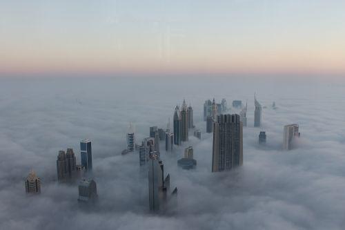 cityscape fog dubai