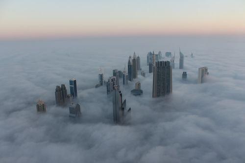 cityscape dubai fog