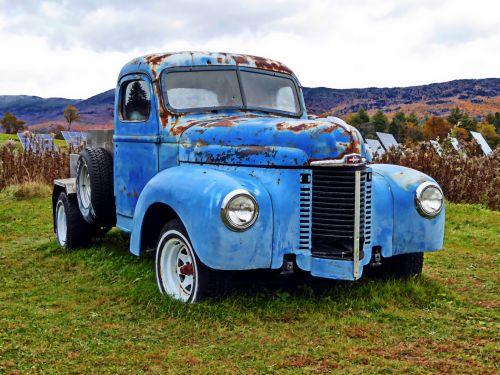 Classic Blue Pickup Truck